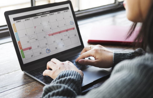 Calendar on laptop