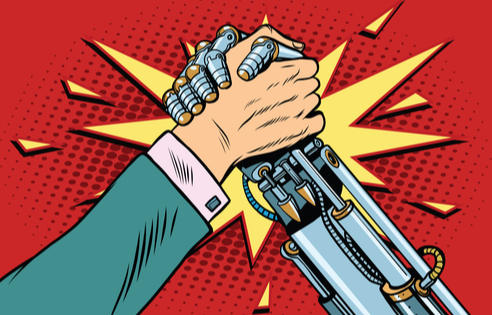 man arm wrestling robot arm
